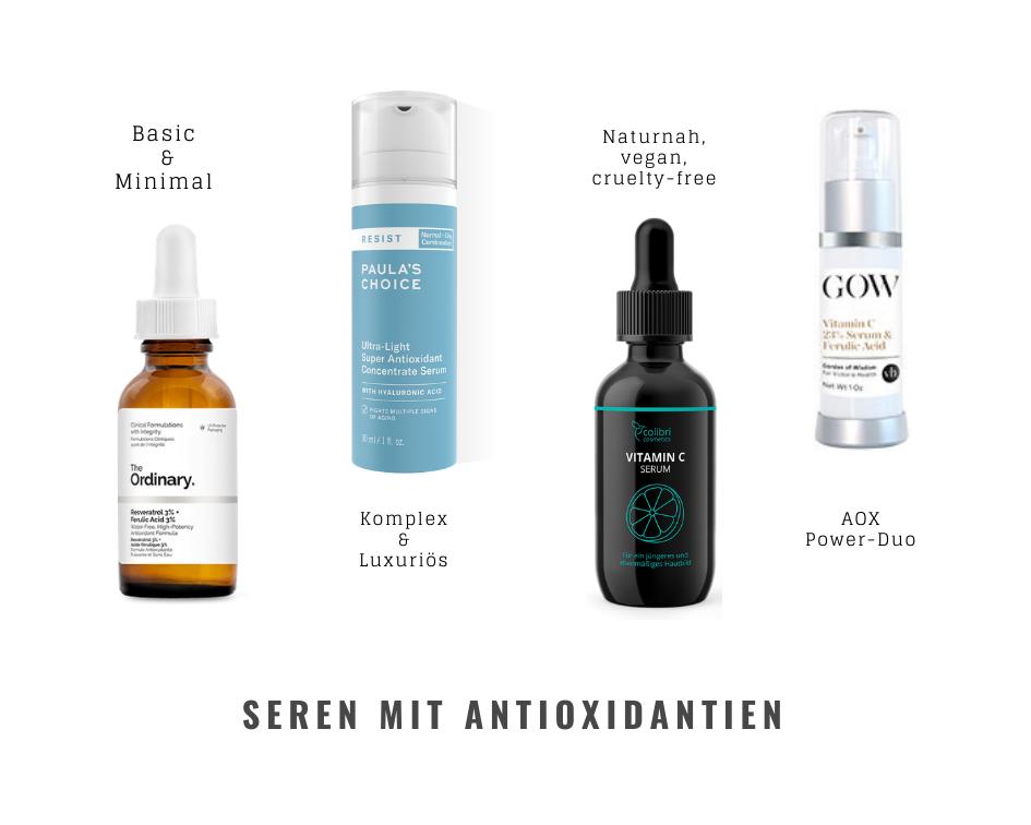 Hautpflegeprodukte, Seren mit Antioxidantien, Paula's Choice, The Ordinary, Garden of Wisdom, Colibri Cosmetics
