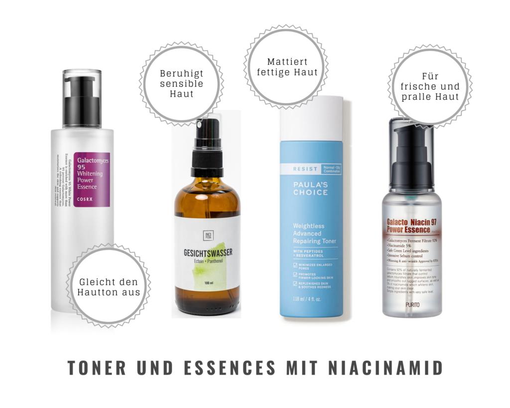 Hautpflegeprodukte mit Niacinamid. Toner und Essences: Cosrx Power Essence, Incipedia Gesichtswasser, Paula's Choice Repairing Toner, Purito Niacin Power Essence.