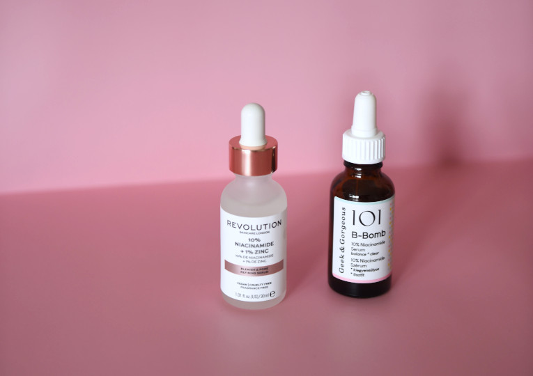 Hautpflege, Seren mit Niachinamid. Revolution Beauty 10% Niacinamide, Geek&Gorgeous B-Bomb