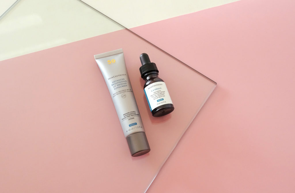 Sonnencreme (Advanced Brightening UV Defense Sunscreen) und Antioxidantien-Serum (C E Ferulic) von SkinCeuticals